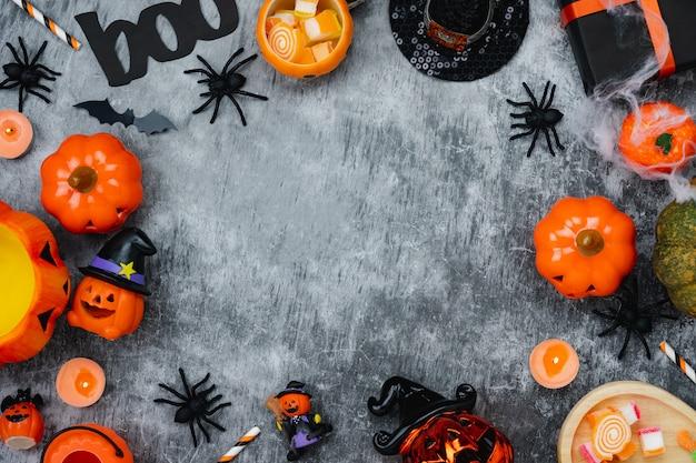 Stołowego widoku z góry powietrzny wizerunek dekoracja szczęśliwy halloweenowy dzień tło