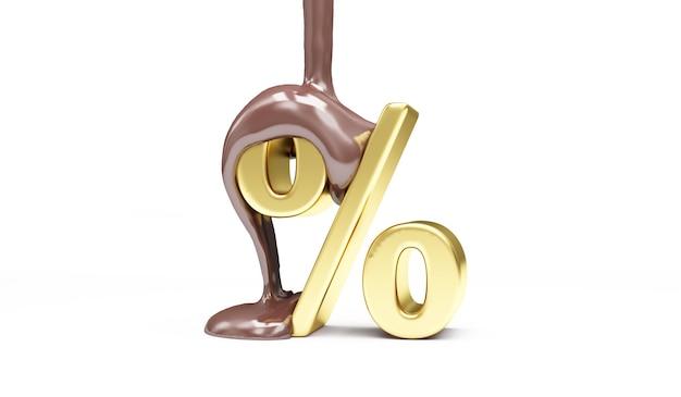 Stopiona czekolada mleczna wylewanie na złoty symbol procentu
