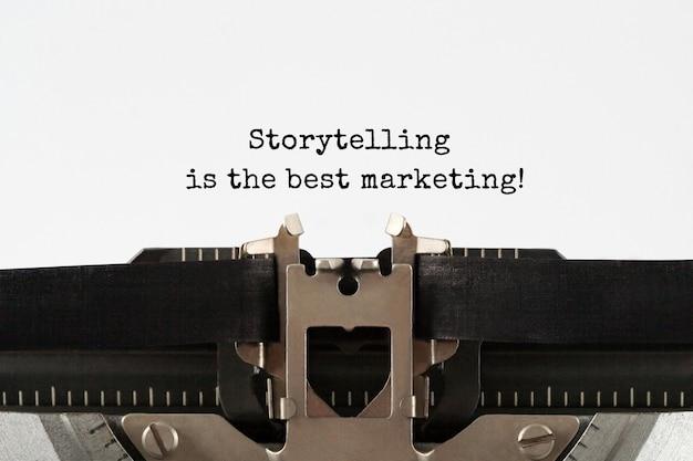 Storytelling to najlepszy tekst marketingowy napisany na maszynie do pisania w stylu retro