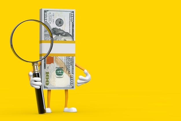 Stos 100 dolarów rachunki osoba charakter maskotka z lupą na żółtym tle. renderowanie 3d