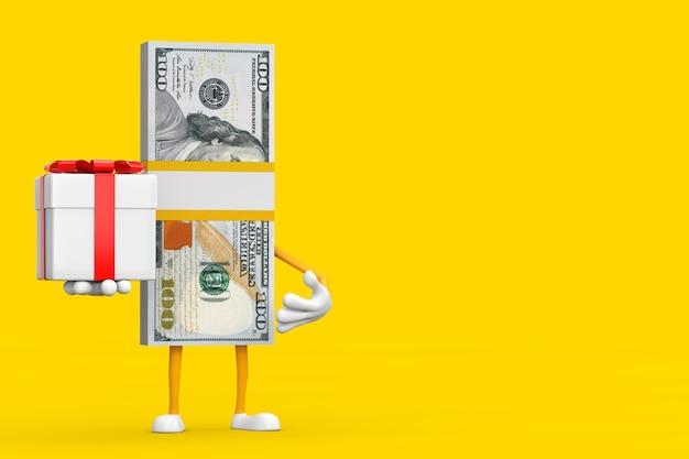 Stos 100 dolarów rachunki osoba charakter maskotka z pudełko i czerwoną wstążką na żółtym tle. renderowanie 3d