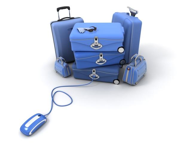 Stos bagażu podłączony do myszy komputerowej.