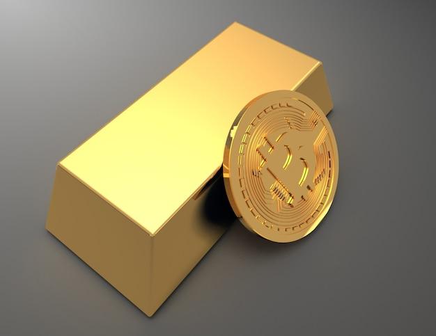Stos bitcoinów i monet ethereum wokół sztabki złota (sztabka kruszcu). 3d renderowana ilustracja