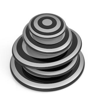 Stos czarno-białych kamieni balansujących na białym tle