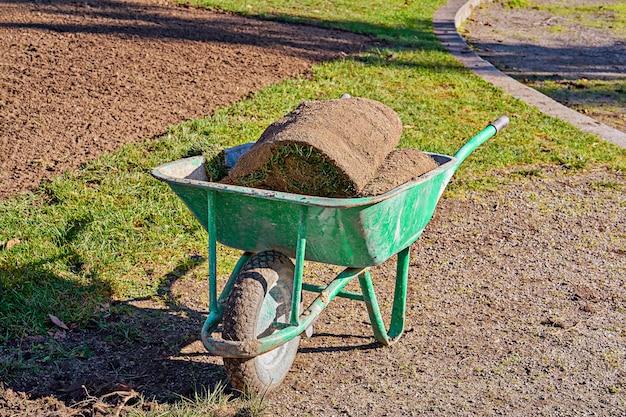 Stos darni z trawy walcowanej do trawników i ogrodnictwa w taczce ogrodowej