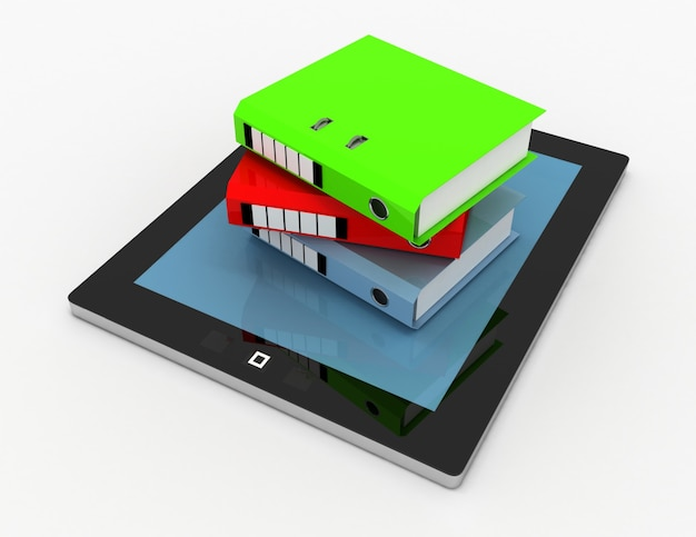 Stos folderów biurowych, segregatory na komputerze typu tablet. 3d renderowana ilustracja