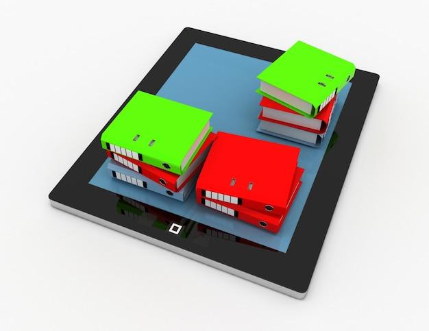 Stos folderów biurowych, segregatory na komputerze typu tablet. ilustracja 3d