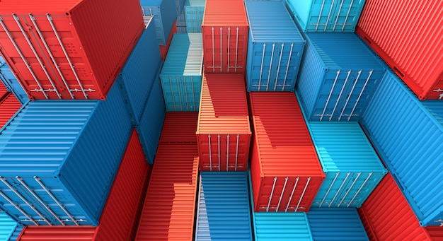 Stos kontenerów, statek towarowy do eksportu importu 3d