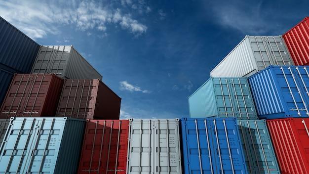 Stos kontenerów, statek towarowy do logistyki eksportu importu