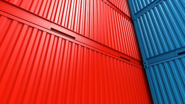 Stos kontenerów tła pola, statek towarowy dla importu eksportu, logistyki, renderowania 3d