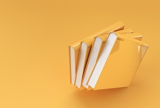 Stos książek podręcznika zakładki design.