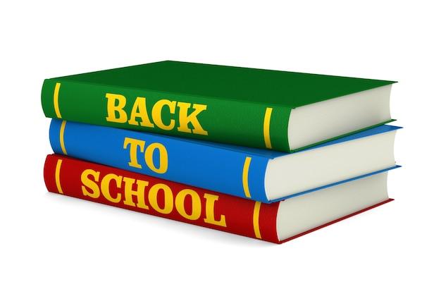 Stos książek z tekstem z powrotem do szkoły na białym tle. izolowana ilustracja 3d