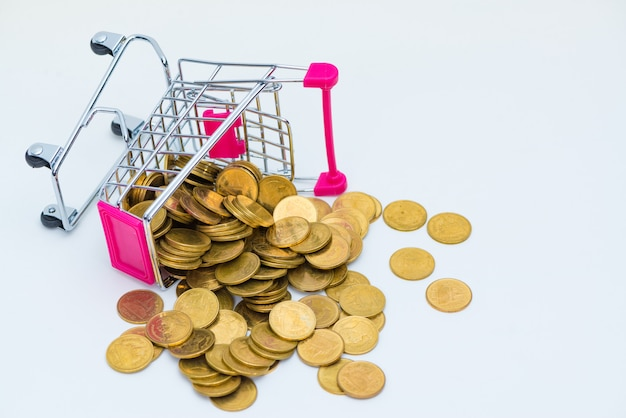 Stos monet i wózek na zakupy lub supermarket