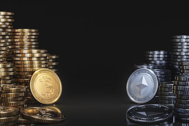 Stos monet kryptowalut pomiędzy bitcoinem (btc) a ethereum (eth) w czarnej scenie, moneta waluty cyfrowej do finansów, promująca wymianę tokenów. renderowanie 3d