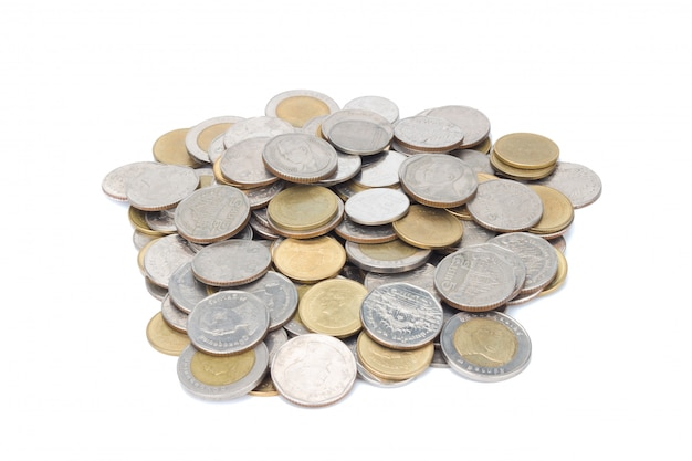 Stos monet srebrnych i glodowych.