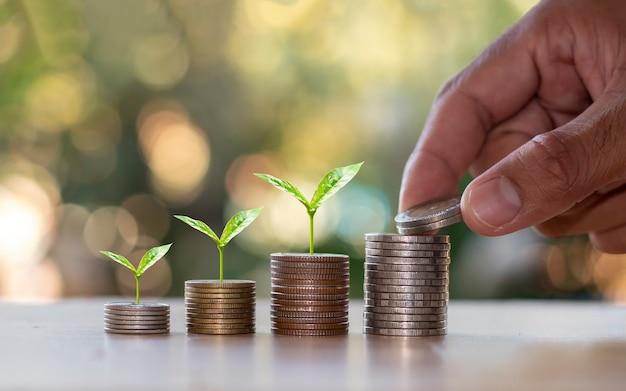 Stos monet z małymi drzewami rosnącymi na monetach i rękami trzymającymi monety
