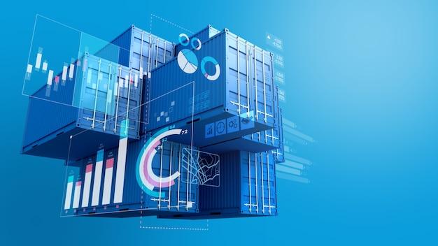 Stos niebieskich pojemników z cyfrowym wykresem wykresu, import eksportowy biznes, renderowanie 3d