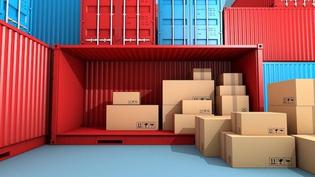 Stos opakowań i kontenerów z brązowego pudełka, import eksport i transport