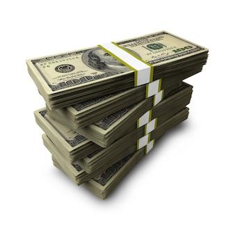Stos paczek banknotów dolarowych