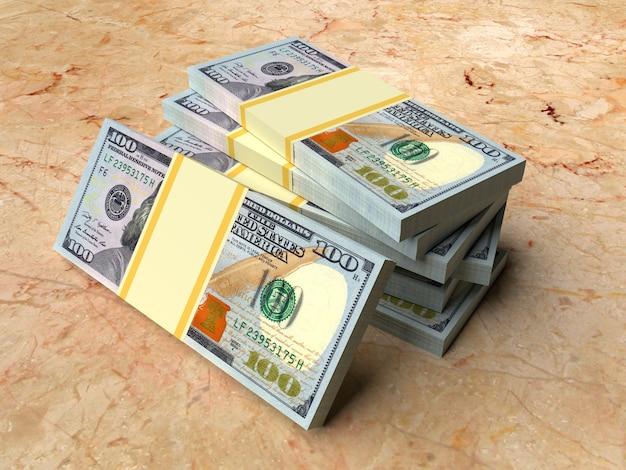 Stos rachunków w dolarach amerykańskich