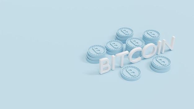 Stos renderowania 3d monet b jako odniesienie do łańcucha bloków z tekstem bitcoin na tle