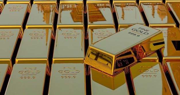 Stos renderowania 3d sztabki złota, waga 1000 gramów