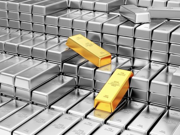 Stos srebrnych i złotych sztabek w skarbcu banku