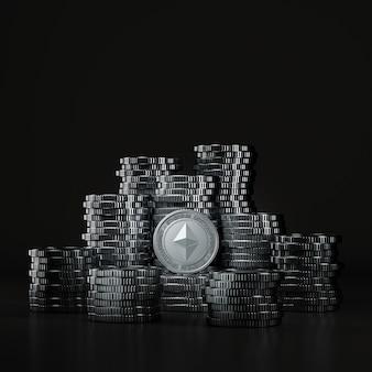 Stos srebrnych monet ethereum (eth) w czarnej scenie, cyfrowa moneta walutowa do finansów, promująca wymianę tokenów. renderowanie 3d