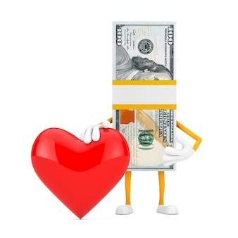 Stos sto dolarów rachunki osoba charakter maskotka z czerwonym sercem na białym tle. renderowanie 3d