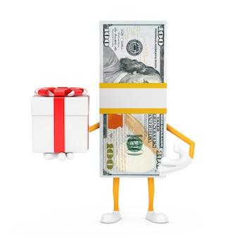 Stos sto dolarów rachunki osoba charakter maskotka z pudełko i czerwoną wstążką na białym tle. renderowanie 3d
