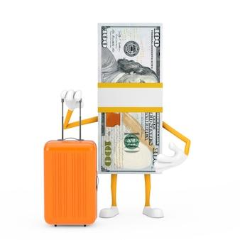 Stos sto dolarów rachunki osoba charakter maskotka z walizką pomarańczowy podróży na białym tle. renderowanie 3d
