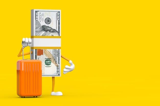 Stos sto dolarów rachunki osoba charakter maskotka z walizką pomarańczowy podróży na żółtym tle. renderowanie 3d