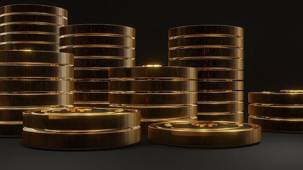 Stos świecącego złotego bitcoina na czarnym tle