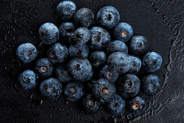 Stos świeże jagody naturalny przeciwutleniacz, makro szczegółowe z bliska.