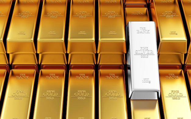 Stos sztabek złota i srebra w skarbcu banku