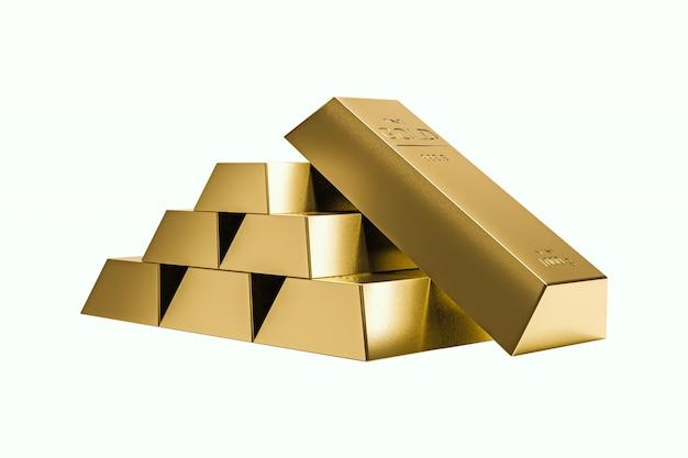 Stos sztabek złota na białym tle bogactwa. realistyczne renderowanie 3d.