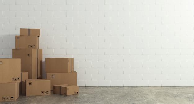Stos zamkniętych pudeł kartonowych owiniętych klejem na podłodze. pojęcie ruchu i wysyłki