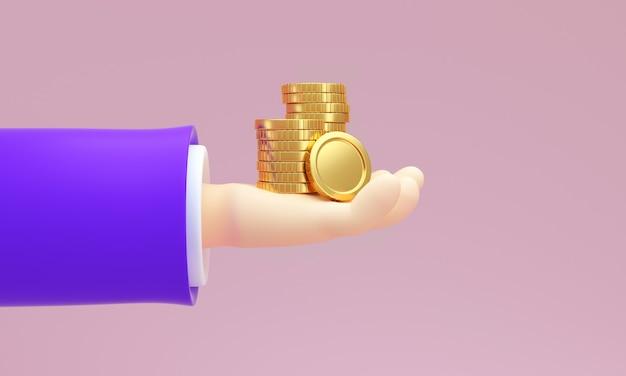 Stos złotych monet w dłoni mężczyzny. koncepcja kredytów bankowych. renderowania 3d.