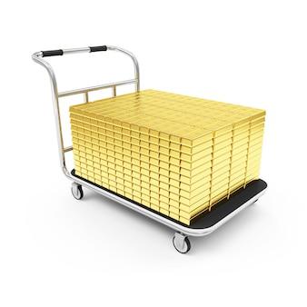 Stos złotych sztabek na koszyku na białym tle