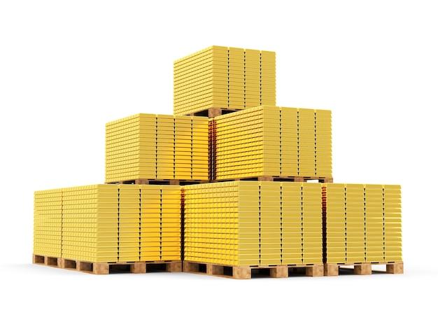 Stos złotych sztabek na paletach drewnianych na białym tle