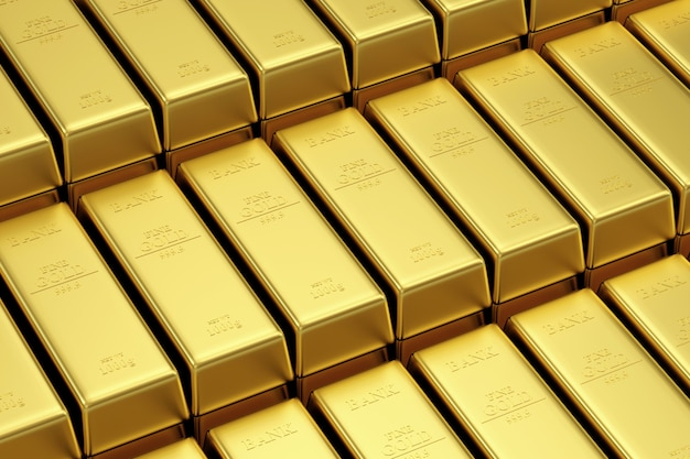 Stos złotych sztabek w skarbcu banku