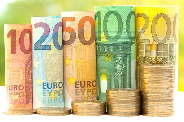 Stosy monet i zwinięte banknoty euro