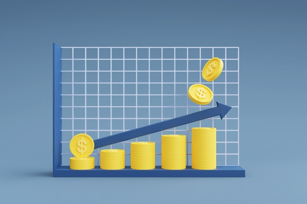 Stosy monet z wykresem pokazującym strzałkę w górę