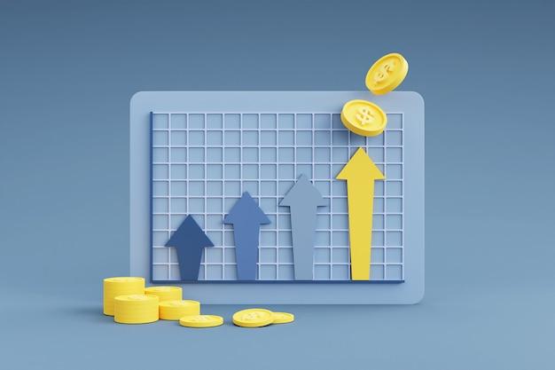 Stosy monet z wykresem pokazującym wzrost strzałki w górę
