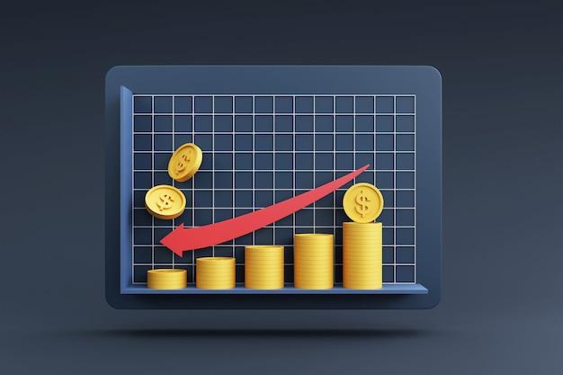 Stosy monet z wykresem wzrostu dla koncepcji finansowej i inwestycyjnej