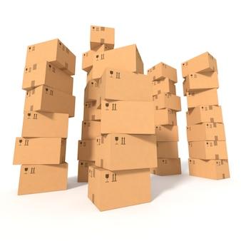 Stosy pudeł kartonowych