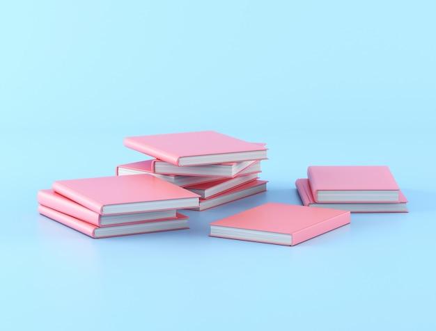 Stosy różowe książki na błękitnym tle