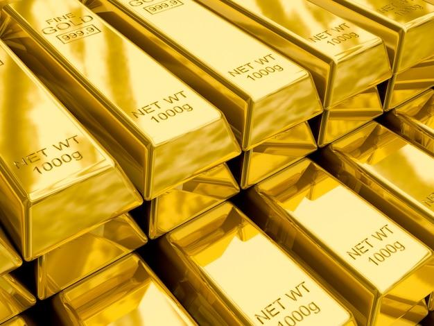 Stosy sztabek złota z bliska