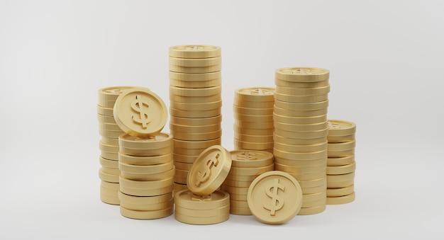 Stosy złotych monet ze znakiem dolara. koncepcja bankowości i finansów. renderowanie 3d
