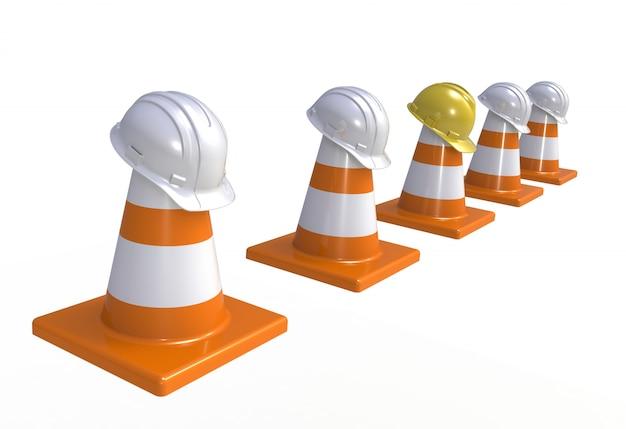 Stożki drogowe i kaski ochronne